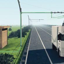 Siemens testet LKW mit Elektromotor sowie ein Abnehmersystem mit Auslegermasten